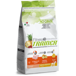 Trainer Fitness 3 Adult Medium/Maxi NO GRAIN Rabbit-Potatoes-Oil (Triušiena,Bulvės,Aliejus) 12,5kg